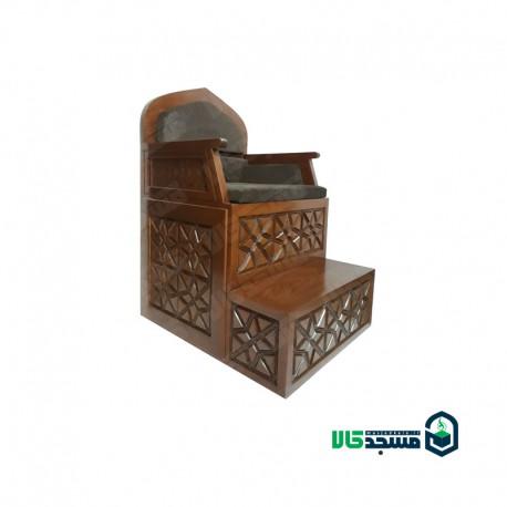 منبر چوبی سنتی گره چینی دو پله صنایع چوب ساج مدل 110